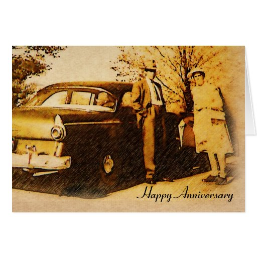 Vintage Photograph Happy Anniversary Couple Cards