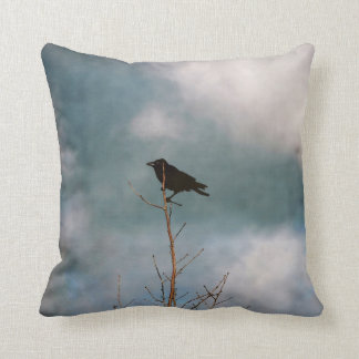 Vintage photograph of a crow on a tree cushion