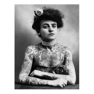 Vintage Photograph Portrait Woman Tattoos Postcard