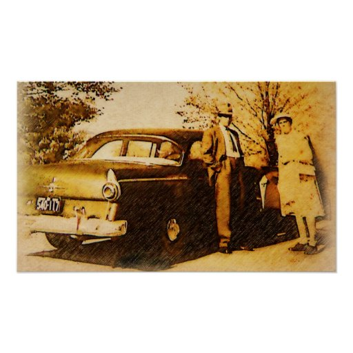 Vintage Photograph - Sunday Drivers Posters