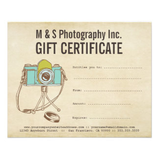 Vintage Photographers Gift Certificate Template Flyer