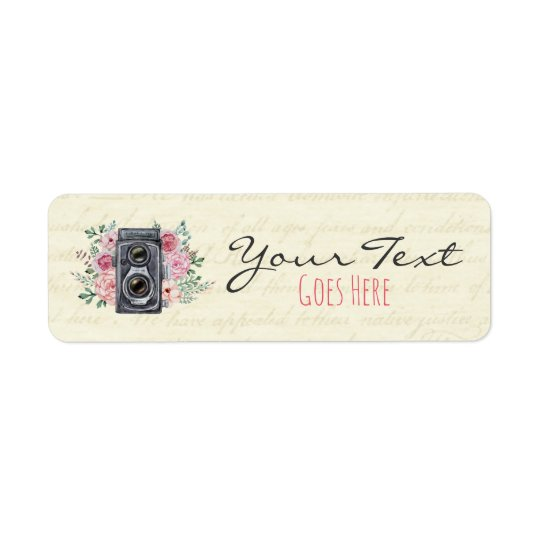 Vintage Photography Camera Rustic Floral Custom Return Address Label