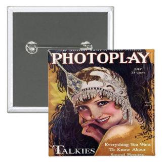 Vintage Photoplay Film Magazine Cover 1929 15 Cm Square Badge