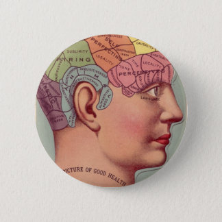 Vintage Phrenology Head 6 Cm Round Badge