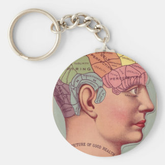 Vintage Phrenology Head Basic Round Button Key Ring