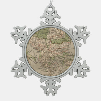 Vintage Physical Map of Greece (1880) Snowflake Pewter Christmas Ornament