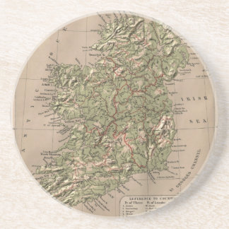 Vintage Physical Map of Ireland (1880) Beverage Coasters
