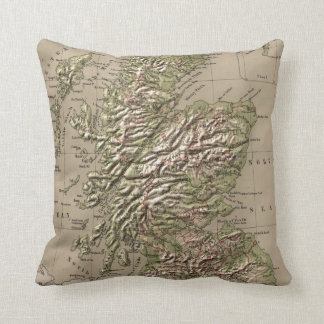 Vintage Physical Map of Scotland (1880) Cushion