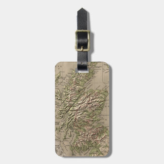 Vintage Physical Map of Scotland (1880) Luggage Tag