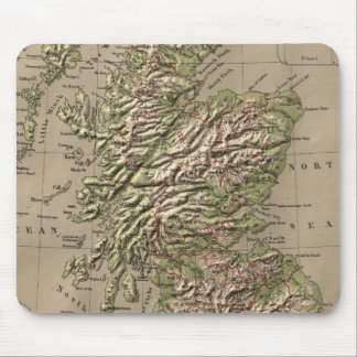 Vintage Physical Map of Scotland (1880) Mouse Pad