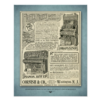 Vintage Piano Ad Poster