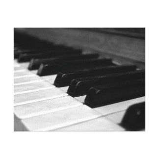 Vintage Piano Keys Black and White Stretched Canvas Prints