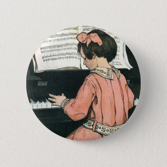 Vintage Piano Music Girl by Jessie Willcox Smith 6 Cm Round Badge
