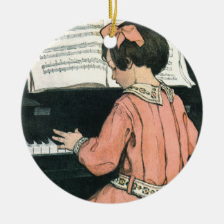 Vintage Piano Music Girl by Jessie Willcox Smith Christmas Ornament