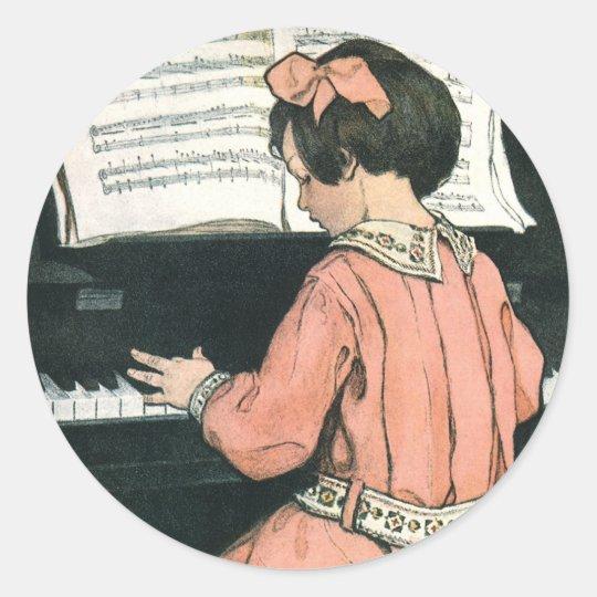Vintage Piano Music Girl by Jessie Willcox Smith Round Sticker