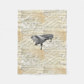 Vintage Piano Sheet Music Fleece Blanket