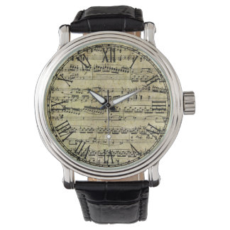 Vintage Piano Sheet Music Notes Watch