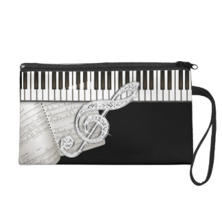 Vintage Piano Sheet Music Treble Clef Wristlet