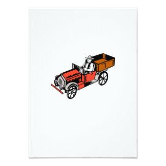 Vintage Pick Up Truck Driver Woodcut 11 Cm X 16 Cm Invitation Card
