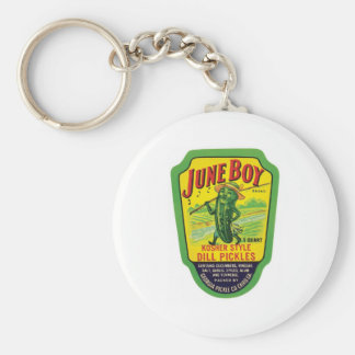 Vintage Pickles Food Product Label Basic Round Button Key Ring