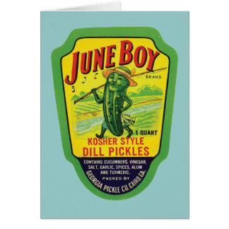 Vintage Pickles Food Product Label Greeting Card