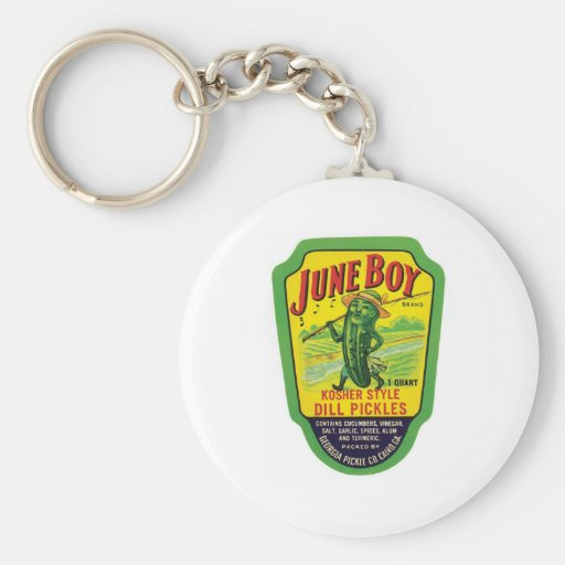 Vintage Pickles Food Product Label Key Chain