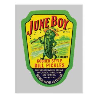 Vintage Pickles Food Product Label Postcard