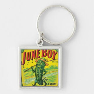 Vintage Pickles Food Product Label Silver-Colored Square Key Ring