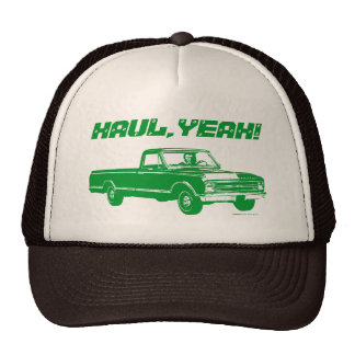 Vintage Pickup Truck Haul Yeah Custom Text - Green Cap