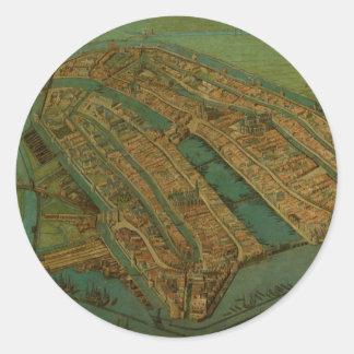 Vintage Pictorial Map of Amsterdam (1538) Round Sticker