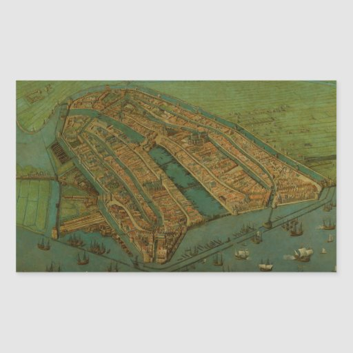 Vintage Pictorial Map of Amsterdam (1538) Rectangle Sticker