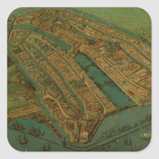 Vintage Pictorial Map of Amsterdam (1538) Square Sticker