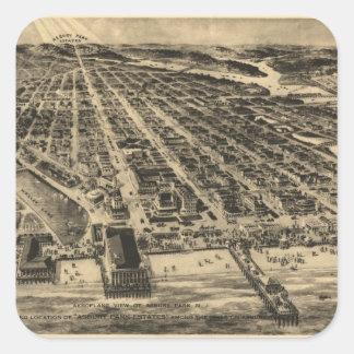 Vintage Pictorial Map of Asbury Park NJ (1910) Square Sticker