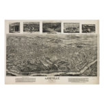 Vintage Pictorial Map of Asheville NC (1912) Poster