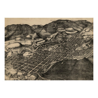 Vintage Pictorial Map of Aspen Colorado (1893) Poster