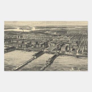 Vintage Pictorial Map of Atlantic City (1909) Rectangular Sticker