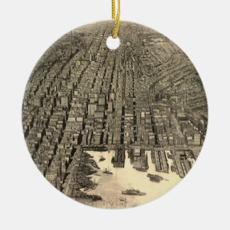 Vintage Pictorial Map of Baltimore (1912) Christmas Ornament
