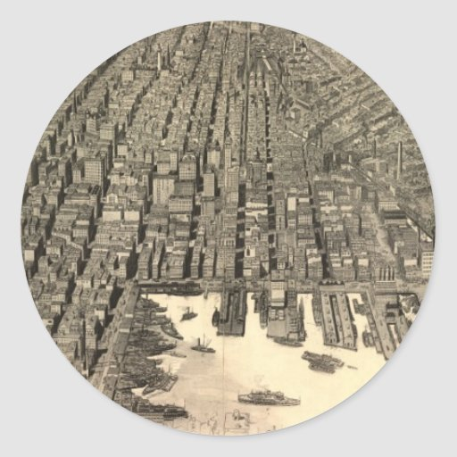Vintage Pictorial Map of Baltimore (1912) Round Stickers