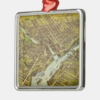 Vintage Pictorial Map of Bangor Maine (1875) Christmas Ornament