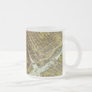 Vintage Pictorial Map of Bangor Maine (1875) Frosted Glass Mug