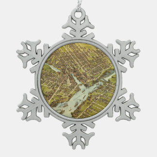 Vintage Pictorial Map of Bangor Maine (1875) Snowflake Pewter Christmas Ornament