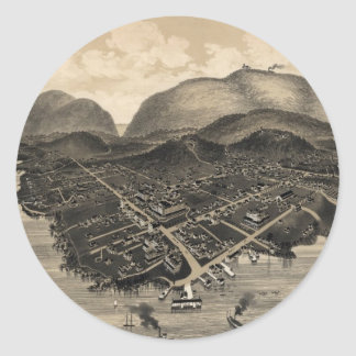 Vintage Pictorial Map of Bar Harbor (1886) Round Sticker