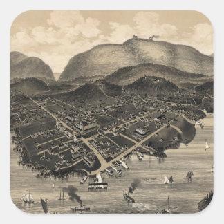 Vintage Pictorial Map of Bar Harbor (1886) Square Sticker
