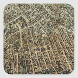 Vintage Pictorial Map of Berlin (1871) Square Sticker