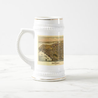 Vintage Pictorial Map of Beverly MA (1886) Beer Stein