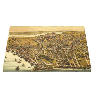Vintage Pictorial Map of Beverly MA (1886) Canvas Print