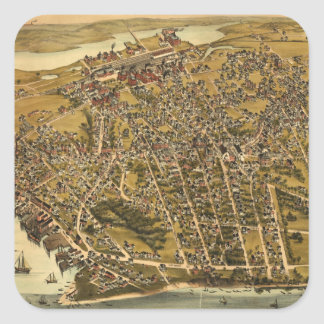 Vintage Pictorial Map of Beverly MA (1886) Square Sticker
