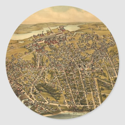 Vintage Pictorial Map of Beverly MA (1886) Sticker
