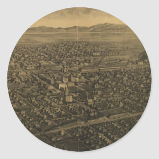 Vintage Pictorial Map of Billings Montana (1904) Round Sticker