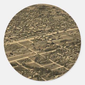 Vintage Pictorial Map of Birmingham (1885) Round Sticker